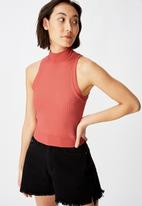 Factorie - Funnel neck tank top - coral