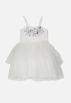 Cotton On - Iris tulle dress - vanilla floral/white