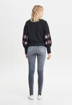 ONLY - Lisa embroidered balloon sleeve sweater - black