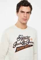 Jack & Jones - Logo 2 crew neck sweat - white