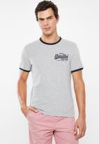 Superdry. - Vintage logo ringer cali tee - grey