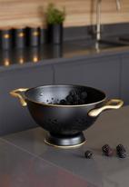 Kitchen Craft - Matte black and brass colander - 24cm