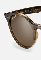 Ray-Ban - Ray-ban round polarized sunglasses 49mm - shiny dark havana