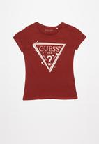 GUESS - Girls double hearts triangle tee - red