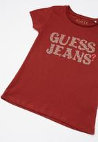GUESS - Girls leopard Guess tee - red
