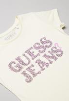 GUESS - Girls leopard Guess tee - cream