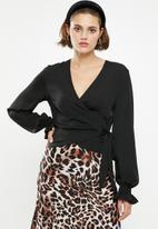 Superbalist - Silky wrap blouse - black