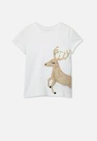 Cotton On - Stevie embellished christmas tee - white & brown