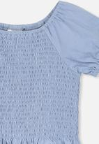Cotton On - Silvia short sleeve shirred top - blue