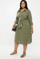 edit Plus - Tie front button through dress - khaki