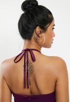 Missguided - Satin square neck belted mini dress - purple