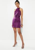 Missguided - Satin square neck belted mini dress - purple
