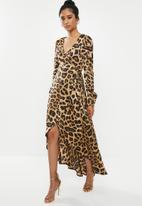 Missguided - High low wrap midi dress ls leopard - mutli