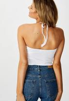 Cotton On - Blyth ring front halter neck top - white