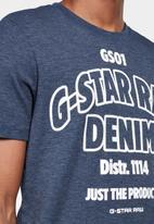 G-Star RAW - Slim logo T-shirt  - blue