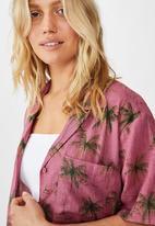 Cotton On - Tropical short sleeve resort shirt - pink & green