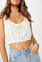 Cotton On - Lana lace up fashion crop - beige & white