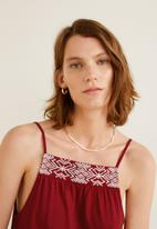 MANGO - Embroidery detail dress - red