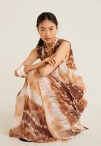 MANGO - Tie-dye dress - brown & white