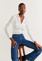 MANGO - Shirt planitap - white