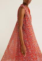 MANGO - Pleat detail dress - red