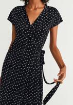 MANGO - Wrap dress - black & white