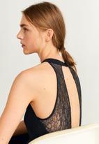 MANGO - Sleeve lace detail jumpsuit - black