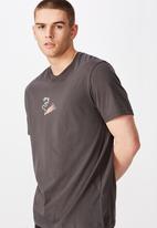 Factorie - Burnout regular graphic T-shirt - charcoal