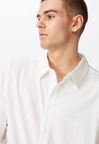 Factorie - Long sleeve linen blend shirt - white