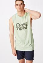 Factorie - Good vibes graphic muscle tank - green