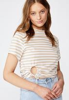 Cotton On - Franklin keyhole tie front short sleeve top - white & beige
