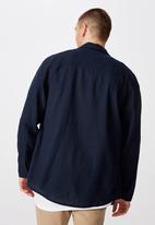 Factorie - Long sleeve linen blend shirt - navy