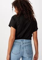 Cotton On - Franklin keyhole tie front short sleeve top - black