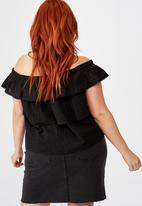 Cotton On - Curve sunshine off the shoulder top - black