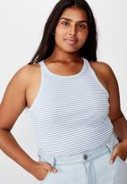Cotton On - Curve turnback tank top - white & blue