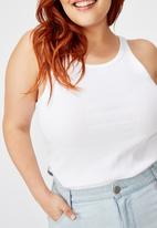 Cotton On - Curve turnback tank top - white