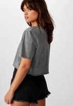 Cotton On - Short sleeve raw edge crop graphic T-shirt - grey