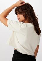 Cotton On - Short sleeve raw edge crop graphic T-shirt - cream