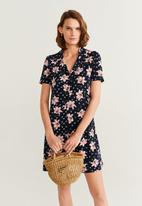 MANGO - Dress camisago - navy & pink