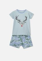 Cotton On - Short sleeve pj set - green & blue