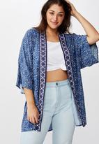 Cotton On - Curve wanderlust kimono - navy & white