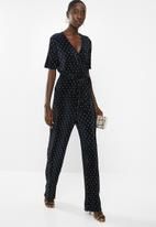 ONLY - Aisha short sleeve jumpsuit - navy & gold