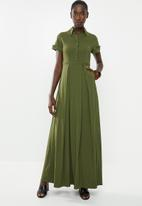 AMANDA LAIRD CHERRY - High waisted pleat maxi - khaki