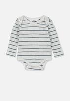 Cotton On - Newborn long sleeve bubbysuit - grey & blue