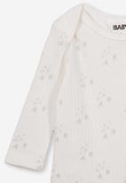 Cotton On - Newborn long sleeve bubbysuit - white