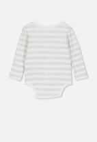 Cotton On - Newborn long sleeve bubbysuit - white & grey