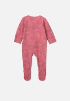 Cotton On - The long sleeve zip romper - pink