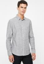 STYLE REPUBLIC - Button-up long sleeve shirt - grey & white