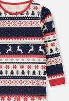 Cotton On - Billie long sleeve unisex pj - navy & red