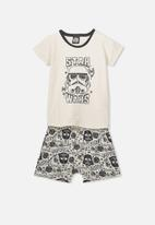 Cotton On - Short sleeve pj set - cream & charcoal